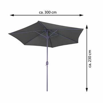 Nexos Sonnenschirm 3m Stahl-Gestell UV Schutz UPF 50+ Gartenschirm Marktschirm mit Kurbel Schirmstoff anthrazit wasserabweisend Höhe 230 cm - 7