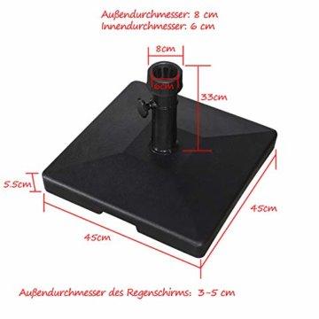 PURPLE LEAF 27 kg Sonnenschirmständer, Quadratisch Schirmständer, umweltfreundliches PE-Gewebe, gefüllt mit Beton - 4