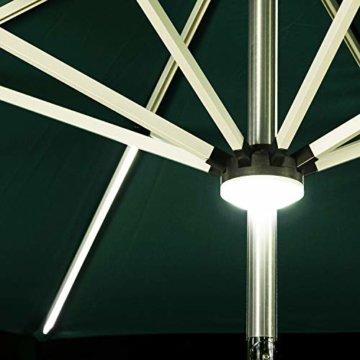 PURPLE LEAF 270 cm Sonnenschirm mit LED Beleuchtung Ampelschirm Gartenschirm Marktschirm, Grün - 3