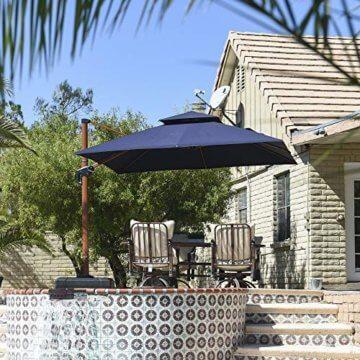 PURPLE LEAF 300 X 300 cm Sonnenschirm Gartenschirm Kurbelschirm Ampelschirm Terrassenschirm, Holzoptik Mast, Marineblau - 4