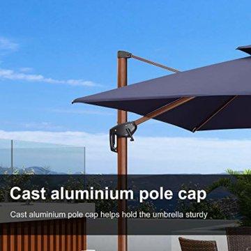 PURPLE LEAF 300 X 300 cm Sonnenschirm Gartenschirm Kurbelschirm Ampelschirm Terrassenschirm, Holzoptik Mast, Marineblau - 8