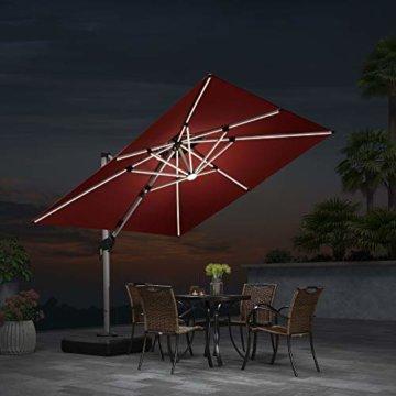 PURPLE LEAF 300 X 300 cm Sonnenschirm mit Solar LED Beleuchtung Gartenschirm Kurbelschirm Ampelschirm Terrassenschirm, Terrakotta - 2