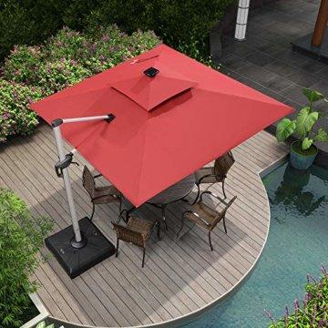 PURPLE LEAF 300 X 300 cm Sonnenschirm mit Solar LED Beleuchtung Gartenschirm Kurbelschirm Ampelschirm Terrassenschirm, Terrakotta - 3