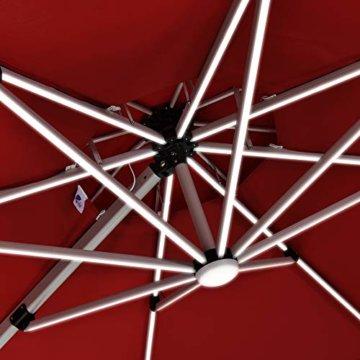 PURPLE LEAF 300 X 300 cm Sonnenschirm mit Solar LED Beleuchtung Gartenschirm Kurbelschirm Ampelschirm Terrassenschirm, Terrakotta - 4