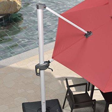 PURPLE LEAF 300 X 300 cm Sonnenschirm mit Solar LED Beleuchtung Gartenschirm Kurbelschirm Ampelschirm Terrassenschirm, Terrakotta - 8