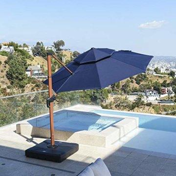 PURPLE LEAF 330 cm Sonnenschirm Gartenschirm Kurbelschirm Ampelschirm Terrassenschirm, Holzoptik Mast, Marineblau - 3