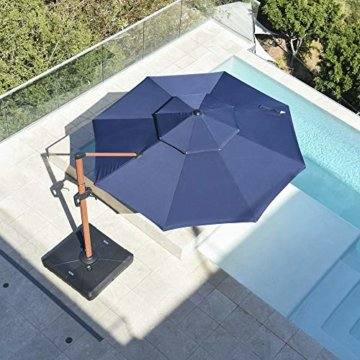 PURPLE LEAF 330 cm Sonnenschirm Gartenschirm Kurbelschirm Ampelschirm Terrassenschirm, Holzoptik Mast, Marineblau - 4