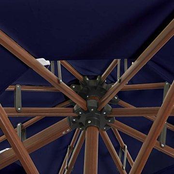 PURPLE LEAF 330 cm Sonnenschirm Gartenschirm Kurbelschirm Ampelschirm Terrassenschirm, Holzoptik Mast, Marineblau - 7