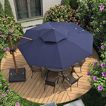 PURPLE LEAF 330 cm Sonnenschirm Gartenschirm Kurbelschirm Ampelschirm Terrassenschirm, Holzoptik Mast, Marineblau - 2