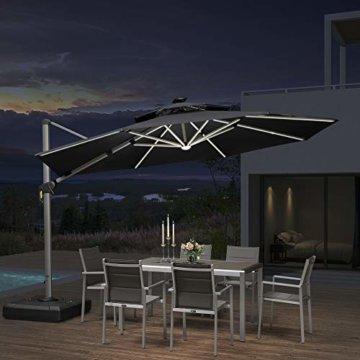 PURPLE LEAF 365 cm Sonnenschirm mit Solar LED Beleuchtung Gartenschirm Kurbelschirm Ampelschirm Terrassenschirm, Grau - 1