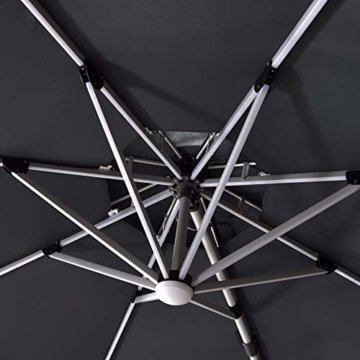PURPLE LEAF 365 cm Sonnenschirm mit Solar LED Beleuchtung Gartenschirm Kurbelschirm Ampelschirm Terrassenschirm, Grau - 6