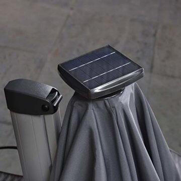 PURPLE LEAF 365 cm Sonnenschirm mit Solar LED Beleuchtung Gartenschirm Kurbelschirm Ampelschirm Terrassenschirm, Grau - 7