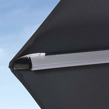 PURPLE LEAF 365 cm Sonnenschirm mit Solar LED Beleuchtung Gartenschirm Kurbelschirm Ampelschirm Terrassenschirm, Grau - 9