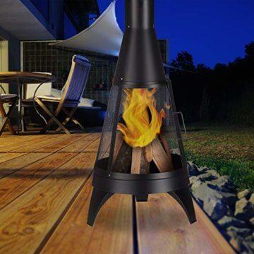 Relaxdays Terrassenofen, offene Feuerkammer, dekorative Feuerstelle, Schürhaken, Gartenofen, Ø 45 cm, Stahl, schwarz - 2