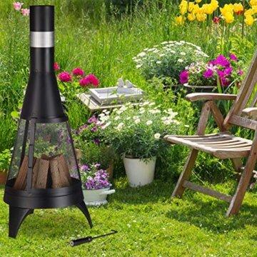 Relaxdays Terrassenofen, offene Feuerkammer, dekorative Feuerstelle, Schürhaken, Gartenofen, Ø 45 cm, Stahl, schwarz - 3