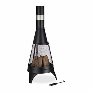 Relaxdays Terrassenofen, offene Feuerkammer, dekorative Feuerstelle, Schürhaken, Gartenofen, Ø 45 cm, Stahl, schwarz - 1