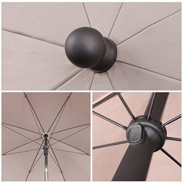 Sekey® Sonnenschirm 240 cm Marktschirm Gartenschirm Terrassenschirm Taupe Rund Sonnenschutz UV25+ - 4