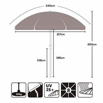 Sekey® Sonnenschirm 240 cm Marktschirm Gartenschirm Terrassenschirm Taupe Rund Sonnenschutz UV25+ - 7