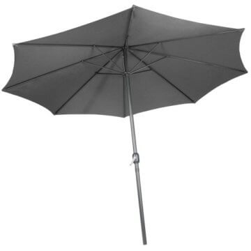 Sonnenschirm in Ø 2,5m / Ø 3m / Ø 3,5m - in Farbwahl aus Stahlrohr und Wasserabweisender Schirmbezug, mit Kurbel - Marktschirm, Gartenschirm, Terrassenschirm, Ampelschirm, Strandschirm, Sonnenschutz (Ø 3 m, Grau) - 3
