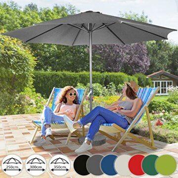 Sonnenschirm in Ø 2,5m / Ø 3m / Ø 3,5m - in Farbwahl aus Stahlrohr und Wasserabweisender Schirmbezug, mit Kurbel - Marktschirm, Gartenschirm, Terrassenschirm, Ampelschirm, Strandschirm, Sonnenschutz (Ø 3 m, Grau) - 1