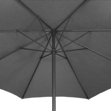 Sonnenschirm in Ø 2,5m / Ø 3m / Ø 3,5m - in Farbwahl aus Stahlrohr und Wasserabweisender Schirmbezug, mit Kurbel - Marktschirm, Gartenschirm, Terrassenschirm, Ampelschirm, Strandschirm, Sonnenschutz (Ø 3 m, Grau) - 6