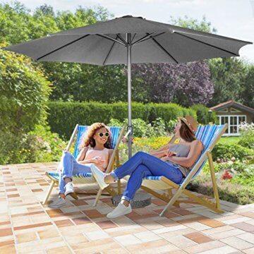 Sonnenschirm in Ø 2,5m / Ø 3m / Ø 3,5m - in Farbwahl aus Stahlrohr und Wasserabweisender Schirmbezug, mit Kurbel - Marktschirm, Gartenschirm, Terrassenschirm, Ampelschirm, Strandschirm, Sonnenschutz (Ø 3 m, Grau) - 7