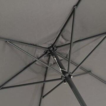 Sonnenschirm Ø 290cm Stahl Gestell UV Schutz UPF 50+ Gartenschirm Marktschirm mit Kurbel und neigbar Schirmstoff anthrazit wasser- und schmutzabweisend Höhe 230 cm - 2