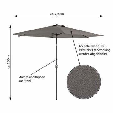 Sonnenschirm Ø 290cm Stahl Gestell UV Schutz UPF 50+ Gartenschirm Marktschirm mit Kurbel und neigbar Schirmstoff anthrazit wasser- und schmutzabweisend Höhe 230 cm - 7