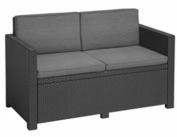"""""""Allibert by Keter"""" Gartenlounge Sofa Victoria, graphit/cool grey, 2-Sitzer, inkl. Sitz- und Rückenkissen, Kunststoff, flache Rattanoptik -"""