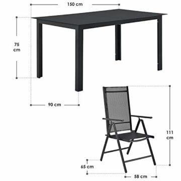ArtLife Aluminium Gartengarnitur Milano | Gartenmöbel Set mit Tisch und 6 Stühlen | dunkel-grau mit schwarzer Kunstfaser | Alu Sitzgruppe Balkonmöbel - 3