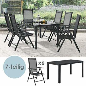 ArtLife Aluminium Gartengarnitur Milano | Gartenmöbel Set mit Tisch und 6 Stühlen | dunkel-grau mit schwarzer Kunstfaser | Alu Sitzgruppe Balkonmöbel - 4