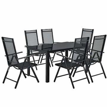 ArtLife Aluminium Gartengarnitur Milano | Gartenmöbel Set mit Tisch und 6 Stühlen | dunkel-grau mit schwarzer Kunstfaser | Alu Sitzgruppe Balkonmöbel - 1