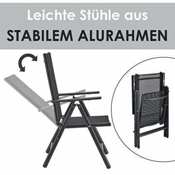 ArtLife Aluminium Gartengarnitur Milano | Gartenmöbel Set mit Tisch und 6 Stühlen | dunkel-grau mit schwarzer Kunstfaser | Alu Sitzgruppe Balkonmöbel - 5
