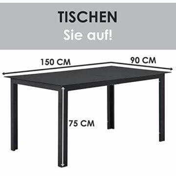 ArtLife Aluminium Gartengarnitur Milano | Gartenmöbel Set mit Tisch und 6 Stühlen | dunkel-grau mit schwarzer Kunstfaser | Alu Sitzgruppe Balkonmöbel - 6