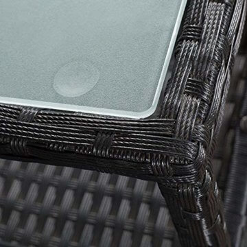 ArtLife Polyrattan Gartenbank Monaco | 2er Sitzbank mit integriertem Tisch schwarz | dunkelgraue Bezüge | Sitzgruppe Terrassenmöbel Balkonmöbel - 3