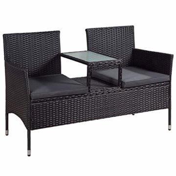 ArtLife Polyrattan Gartenbank Monaco | 2er Sitzbank mit integriertem Tisch schwarz | dunkelgraue Bezüge | Sitzgruppe Terrassenmöbel Balkonmöbel - 1