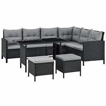ArtLife Polyrattan Lounge Manacor | Gartenmöbel Set mit Sofa, Tisch & 2 Hockern | Bezüge grau | Sitzgruppe für Garten, Terrasse & Balkon - 1