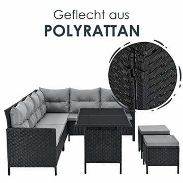 ArtLife Polyrattan Lounge Manacor | Gartenmöbel Set mit Sofa, Tisch & 2 Hockern | Bezüge grau | Sitzgruppe für Garten, Terrasse & Balkon - 6