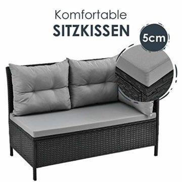 ArtLife Polyrattan Lounge Manacor | Gartenmöbel Set mit Sofa, Tisch & 2 Hockern | Bezüge grau | Sitzgruppe für Garten, Terrasse & Balkon - 7
