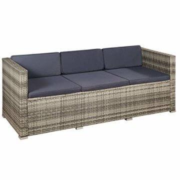 ArtLife Polyrattan Lounge Punta Cana M für 3-4 Personen mit Tisch in grau-meliert mit grauen Bezügen Gartenmöbel Sitzgruppe Balkonmöbel Set - 3