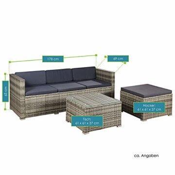 ArtLife Polyrattan Lounge Punta Cana M für 3-4 Personen mit Tisch in grau-meliert mit grauen Bezügen Gartenmöbel Sitzgruppe Balkonmöbel Set - 4