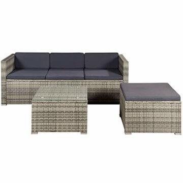 ArtLife Polyrattan Lounge Punta Cana M für 3-4 Personen mit Tisch in grau-meliert mit grauen Bezügen Gartenmöbel Sitzgruppe Balkonmöbel Set - 1