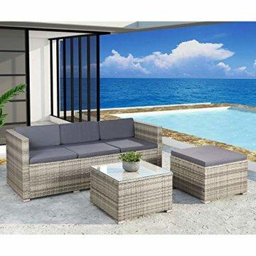 ArtLife Polyrattan Lounge Punta Cana M für 3-4 Personen mit Tisch in grau-meliert mit grauen Bezügen Gartenmöbel Sitzgruppe Balkonmöbel Set - 5
