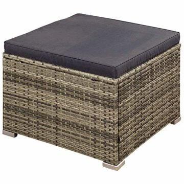 ArtLife Polyrattan Lounge Punta Cana M für 3-4 Personen mit Tisch in grau-meliert mit grauen Bezügen Gartenmöbel Sitzgruppe Balkonmöbel Set - 6