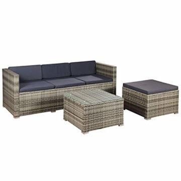 ArtLife Polyrattan Lounge Punta Cana M für 3-4 Personen mit Tisch in grau-meliert mit grauen Bezügen Gartenmöbel Sitzgruppe Balkonmöbel Set - 7