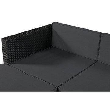 ArtLife Polyrattan Lounge Punta Cana M für 3-4 Personen mit Tisch in schwarz mit Bezügen in Dunkelgrau   Gartenmöbel Sitzgruppe - 2