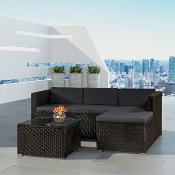 ArtLife Polyrattan Lounge Punta Cana M für 3-4 Personen mit Tisch in schwarz mit Bezügen in Dunkelgrau   Gartenmöbel Sitzgruppe - 3