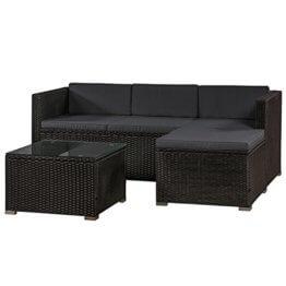 ArtLife Polyrattan Lounge Punta Cana M für 3-4 Personen mit Tisch in schwarz mit Bezügen in Dunkelgrau   Gartenmöbel Sitzgruppe - 1