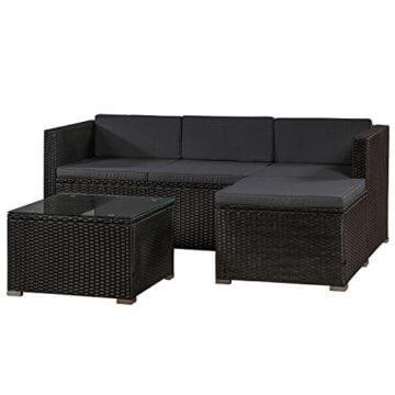 ArtLife Polyrattan Lounge Punta Cana M für 3-4 Personen mit Tisch in schwarz mit Bezügen in Dunkelgrau | Gartenmöbel Sitzgruppe - 1