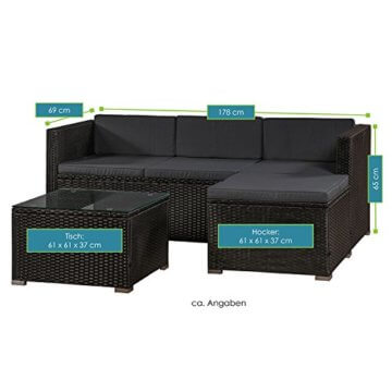 ArtLife Polyrattan Lounge Punta Cana M für 3-4 Personen mit Tisch in schwarz mit Bezügen in Dunkelgrau | Gartenmöbel Sitzgruppe - 5